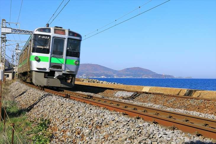 小樽の海と電車
