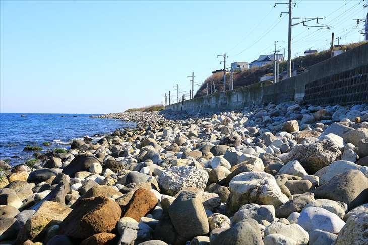 朝里付近の小樽の海