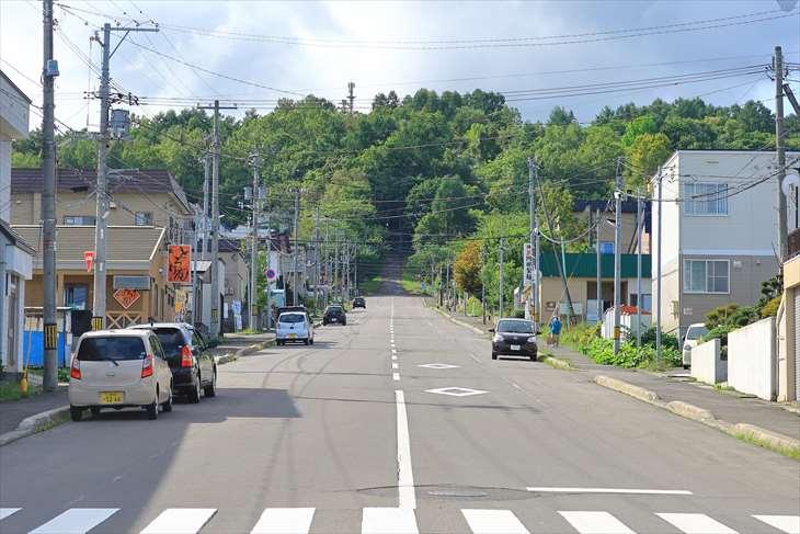桜町ロータリーから熊碓神社方面を見た景色