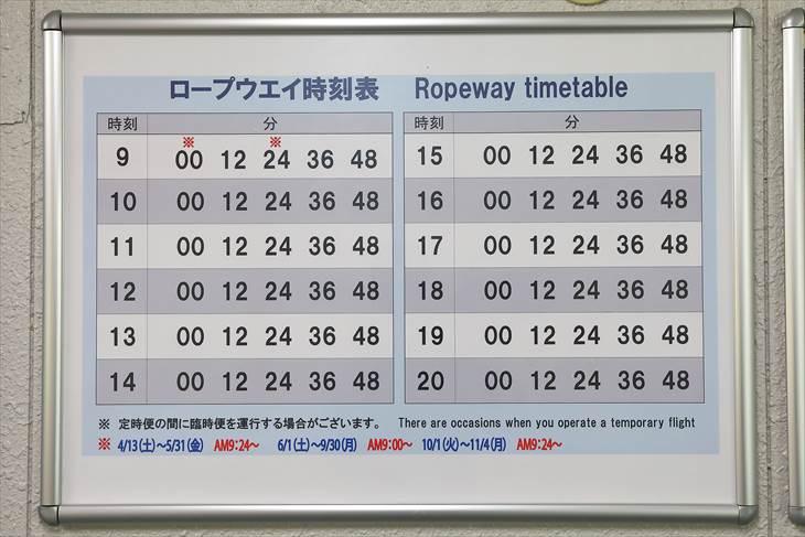 小樽天狗山ロープウェイ 時刻表